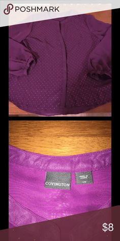Covington Henley Style Blouse Large Plum purple blouse with gold accents on front.  Henley pull over style.  Size large.  From Covington.  Excellent condition.   Important:   All items are freshly laundered as applicable prior to shipping (new items and shoes excluded).  Not all my items are from pet/smoke free homes.  Price is reduced to reflect this!   Thank you for looking! Covington Tops Blouses