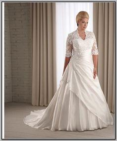 wedding dresses for size 12 lady | ... size wedding dress with sleeves - Ivory empire waist plus size wedding