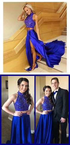 Charming Prom Dress,Sexy Prom Dress,Royal Blue Two Piece