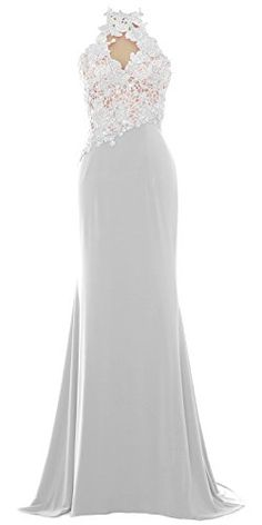 MACloth Women Mermaid Halter Lace Long Formal Evening Dress Wedding Party Gown 10 White ** Find out more about the great product at the image link.