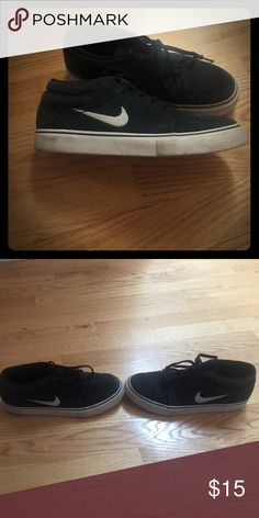 Boys Nike Shoes Black suede white trim. Lots of wear left in these shoes. Nike Shoes Sneakers