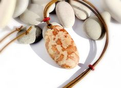 Spanish necklace. Natural stone pendant. Beach by EvasBeachStones
