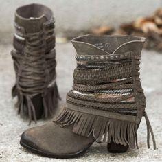 Naughty Monkey grey fringe boot