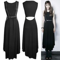 Sexy Black Sleeveless Maxi Long Gothic Punk Rock Dresses Women SKU-11402260