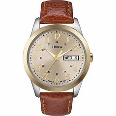 Timex Men's Elevated Classic , Gold-Tone Dial Two-Tone Case , Dress Watch Brown