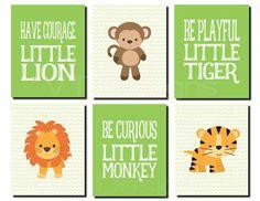 Jungle Animals Wall Art Kids Wall Art Baby Boy Monkey
