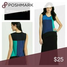 🆕Listing! BCBG Colorblock Asymmetrical Tank Top Easy breezy tank in blue, black and teal. Good used condition. Smoke/pet-free home.  💞Thanks for browsing my closet!💞 BCBGMaxAzria Tops Tank Tops
