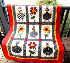 I like the great black & white patterns used, and the use of bold color with them. Cute!  Pinned: StitchinByTheLake