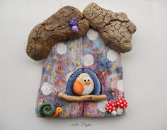Look closely @ the painted rocks. Pebble Painting, Pebble Art, Stone Painting, Painting On Wood, Wall Art Crafts, Owl Crafts, Rock And Pebbles, Butterfly Wall Art, Stone Crafts