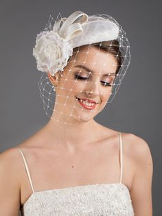 White wedding hat with birdcage face veil. New desing in 2021 collection. Wedding Fascinators, Wedding Hats, Wedding Reception Planning, Face Veil, Hat Blocks, Hat Stands, Traditional Wedding Dresses, Long Faces, Silk Organza