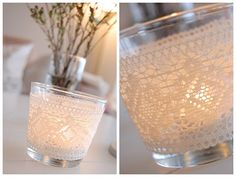 lace-wrapped votive holders are so simple and very elegant