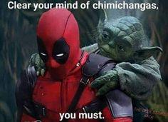 Deadpool and Yoda Marvel x Star Wars Deadpool Images, Deadpool Funny, Marvel Funny, Funny Comics, Marvel Dc, Marvel Comics, Movie Memes, Funny Memes, Hilarious