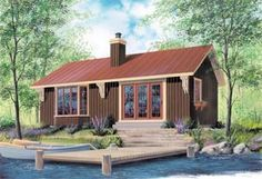 Elevation of Cabin   House Plan 64950