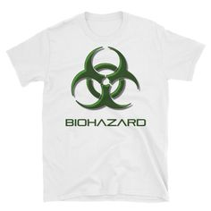 #Biohazard warning, toxic fallout #danger #sign, bio waste symbol Short-Sleeve Unisex T-Shirt  Budget friendly white tee shirt. Both sides printed. This makes for a great stap... #sexy #art #style #design #prints #clothing #shirt #shirts