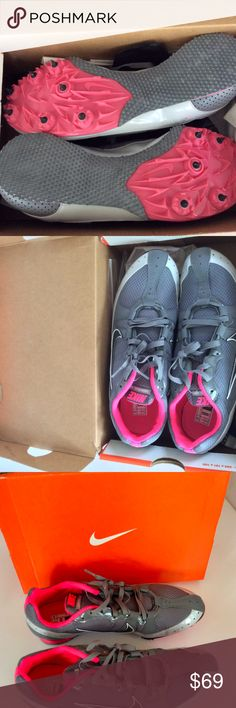 Nike Zoom Rival MD 5 Track & Field Shoes Cleats Nike Zoom Rival MD 5 Bowerman Track & Field Shoes With Cleats / Spikes  New in the box,  Men's 8 Women's 9. Shoe bag and cleat remover are included.  Gray with hot pink accents. Nike Shoes