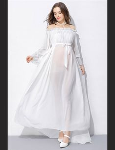 ad88b7fd1df White Chiffon Long Sleeves Bare Shoulder Maternity Dress Photo Prop