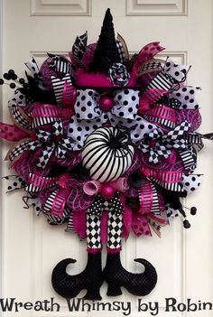 SALE Halloween Pink & Black Deco Mesh Witch Wreath, Fall Wreath, XL Witch Wreath, Witch Legs Hat, Halloween Decor, Harlequin Witch