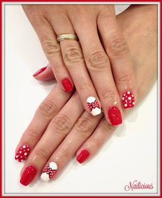 Red with bows and dots