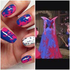 Pink! No, blue! I couldn't choose.  Inspired by Disney's The Sleeping Beauty. Nail art. Disney nails. Nail It! Magazine. Disney Princess. Princess Aurora.