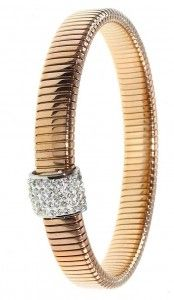 Rowdy Rue is Rose Gold Plated Stretch Band Bracelet with Swarovski Crystal set Sleeve