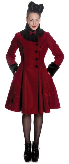 50's frock coat - Red Velvet with Black faux-fur accents