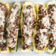Shiitake Beef Swiss Stuffed Squash (Low Carb, Gluten-free) - These yellow summer squash boats are stuffed with gooey Swiss cheese, smoky ground beef, and rich shiitake mushrooms. They make an easy low carb and gluten-free dinner. Yellow Squash Recipes, Summer Squash Recipes, Yellow Squash And Zucchini, Summer Recipes, Low Carb Recipes, Beef Recipes, Cooking Recipes, Healthy Recipes