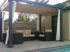 eine pergola selber bauen und dann mit gardinensystem den. Black Bedroom Furniture Sets. Home Design Ideas