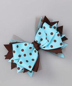 Payton Grace Bows Blue & Brown Polka Dot Bow by Payton Grace Bows #zulily #zulilyfinds