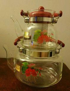 KJF Glass Teapot 4 Piece Set Red NWOB