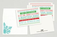 Winter Wonderland Holiday Greeting Card Template - Its the next best thing to caroling on the doorsteps of loved ones. This card brings to life a classic carol in mixed type with subtle graphic elements.