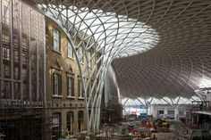 King's Cross Station | Supporting column and roof from ground level. Credit John Sturrock.