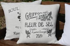 Antique Vintage French Linen Printed Grain Feed Sack Cushion Pillow Cover on Etsy, $33.66