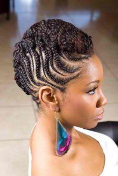 Natural hair, cornrow updo, braids