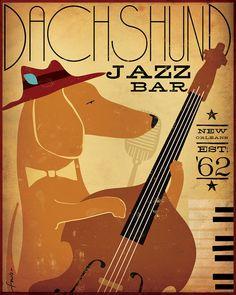 Dachshund Jazz Bar original graphic illustration giclee archival signed print 16 x 20 x by Stephen Fowler Arte Dachshund, Dachshund Love, Daschund, Le Chihuahua, Jazz Bar, Weenie Dogs, Doggies, Delphine, Pics Art