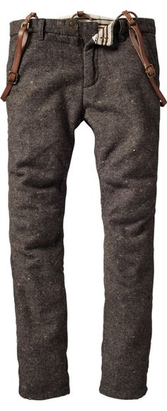 Wool flat front trousers with braces.