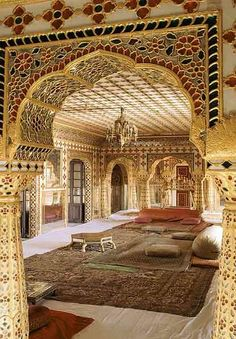 Interior of Mubarak Mahal - Jaipur, india