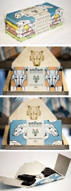 Omnom Handmade Chocolate -- graphic art chocolate bar design with wild creatures of the wood primarily featured. cream paper label, faded primary colors. horizontal. packaging inspiration.