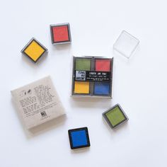 Chroma Ink Pad Set - Red/Yellow/Green/Blue - Mini Ink Pad Set of 4 - Primary Colors, plus green!