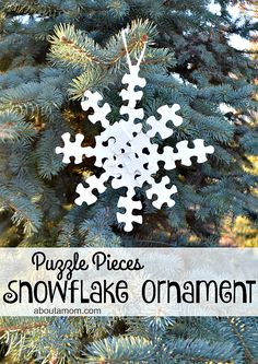 Gather up your old puzzle pieces to make this snowflake Christmas ornament. Farmhouse Christmas Ornaments, Christmas Ornaments To Make, How To Make Ornaments, Homemade Christmas, Christmas Crafts, Christmas Decorations, Puzzle Piece Crafts, Puzzle Pieces, Christmas Activities