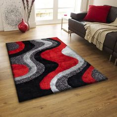 Hand Made Soft Touch Red Black Shag Home Decor Area Rug, Exact Size 5' x 7' FT. Rug Factory Plus http://www.amazon.com/dp/B00R1ZVB5A/ref=cm_sw_r_pi_dp_FyMYwb10CP16Y