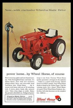 Wheel Horse Riding Tractor Wheel-a-Matic Drive RED Lawnmower 1965 Lawn Care AD