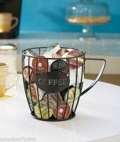 Coffee Cup Mug Black Wire Coffee Pod K Cup Organizer Holder Caddy NEW