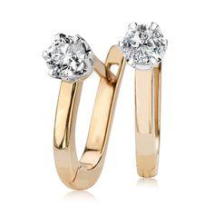 Kolczyki żółte i białe złoto z brylantami - Biżuteria srebrna dla każdego tania w sklepie internetowym Silvea
