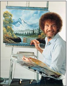 Bob Ross costume idea. Happy little trees!  Steph, remember when we used to watch him during the summer?! Ha