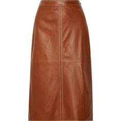 Vanessa Seward Erith leather midi skirt (70.105 RUB) ❤ liked on Polyvore featuring skirts, brown, mid-calf skirts, calf length skirts, brown midi skirt, leather midi skirts and leather skirt