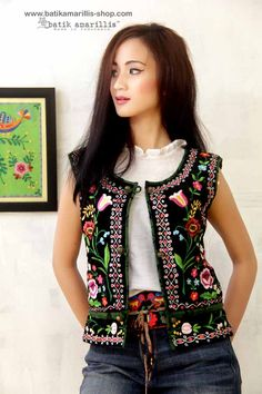 Batik Amarillis made in Indonesia proudly presents: Batik Amarillis' folklore #3 ♥ Batik Amarillis' Kasia vest ♥ ...inspired by Fabulous vintage traditional Polish waistcoat with rich,meticulous,colorful and intricate vintage embroidery style from Poland combined with Indonesia's traditional textiles such as Batik and ikat.