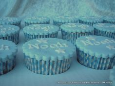 Christening cupcakes covered in blue sugarpaste with individually placed name letters West Ham Football, Christening Cupcakes, Soccer Cake, Fondant, Icing, Treats, Cooking, Letters, Desserts