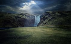 """Skogafoss - Raw Power"" -- #wallpaper by ""Dominic Kamp"" from http://interfacelift.com -- Skógafoss is a waterfall situated on the Skógá River in the south of Iceland at the cliffs of the former coastline and is one of the biggest waterfalls in the country with a width of 25 m (82 feet) and a drop of 60 m (200 ft).  According to legend, the first Viking settler in the area buried a treasure in a cave behind the waterfall but I couldn't find it..."