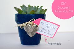 DIY decoupaged plant pot...succulent plant with locket and tag.  Thank You for being a friend, free printable! www.sparkandchemistry.com Use at your next party or give to that special person just because :)