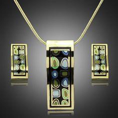danbihuabi Vintage gold plated enamel jewelry sets Earrings and Pendant Necklace Set